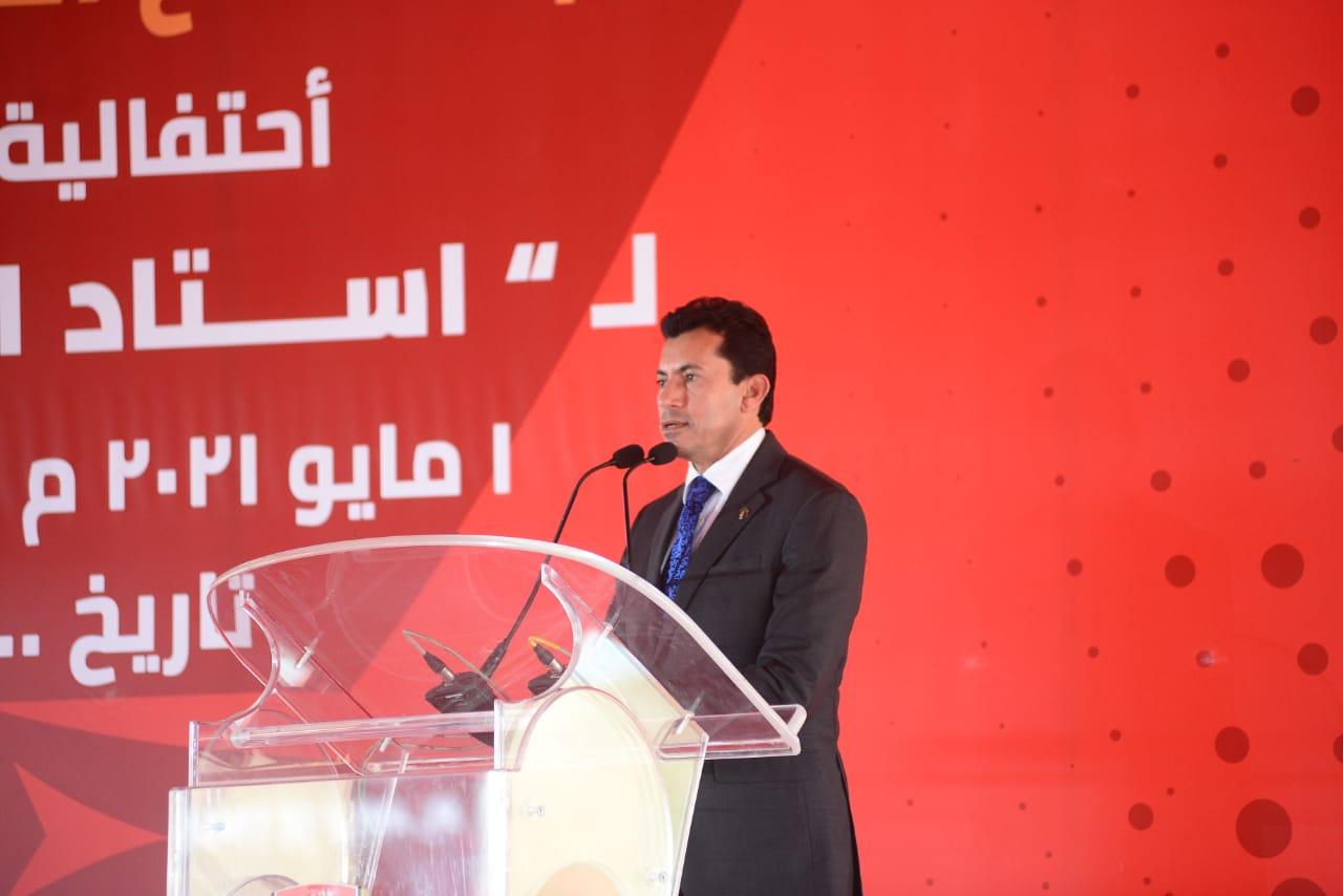 استاد النادي الأهلي  وزير الرياضة: وضع حجر الأساس إنجاز كبير