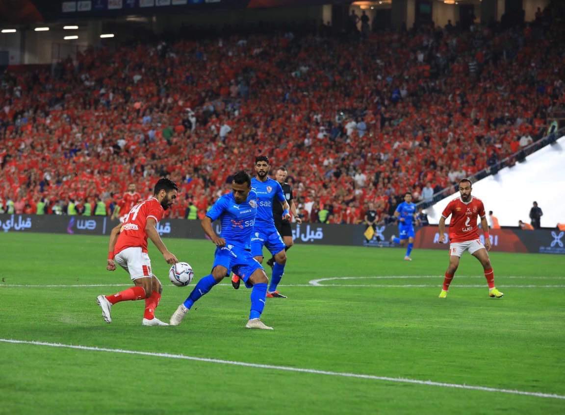 السوبر المصري  الدقيقة ٧٥ الاهلي يكثف هجماته ويسطر علي وسط الملعب